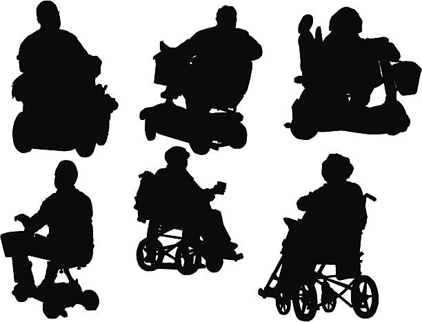 Our Wheelchairs Electric (Silhouette, Vector Drawing, disability) vector art illustration