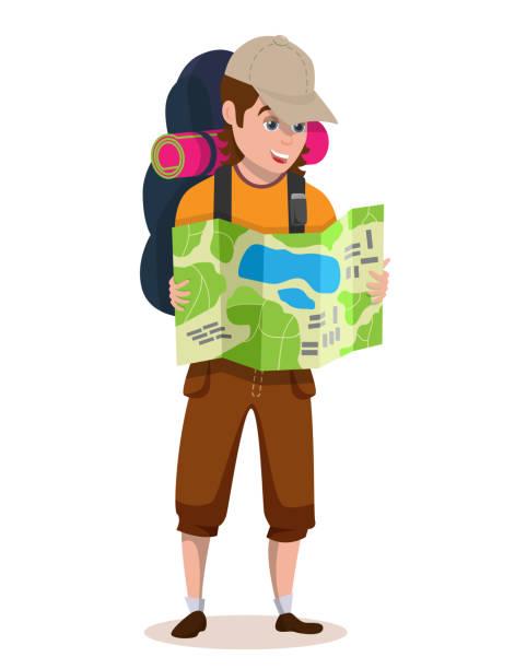 ilustrações, clipart, desenhos animados e ícones de mochileiro ourist mapa na mão e procurando rota turística - explorador