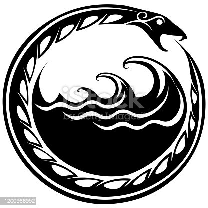 istock Ouroboros serpent curled up around sea waves 1200966952