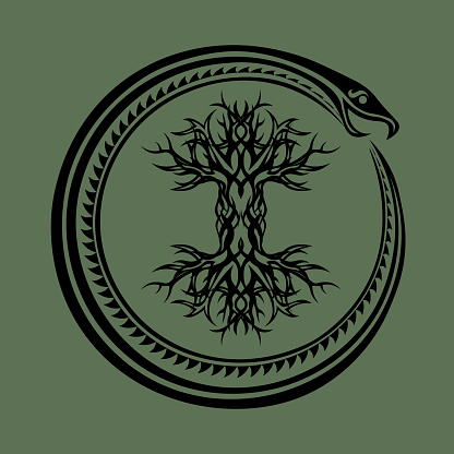 ouroboros serpent curled up around yggdrasil, viking tree of life