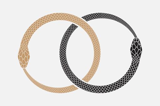 Ouroboros, symbol of infinity. Mythology design element