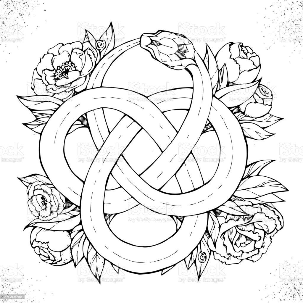 Ouroboros symbol vector art illustration