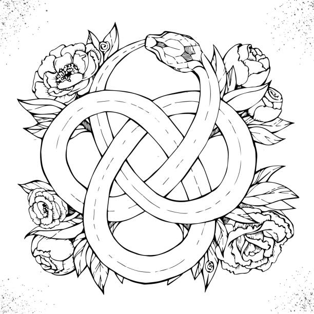 ouroboros symbol - snakes tattoos stock illustrations, clip art, cartoons, & icons