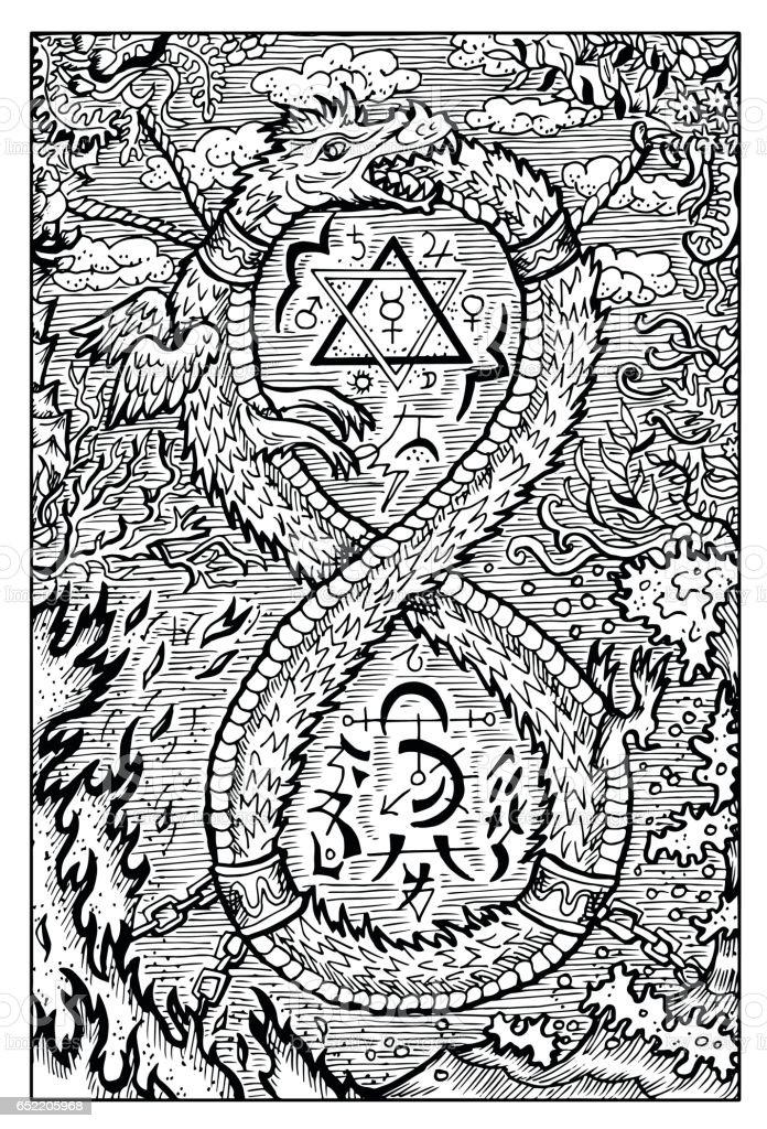 Ouroboros, uroboros, serpent or dragon eating its tail vector art illustration