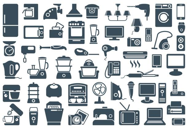 нousehold geräte symbole - haushaltsmaschine stock-grafiken, -clipart, -cartoons und -symbole