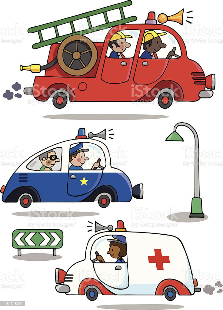 Out and About Emergency Vehicles vector art illustration