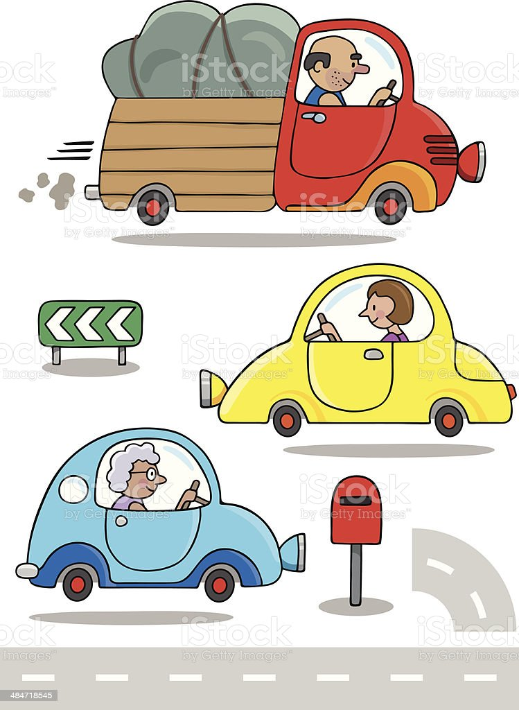 Out and About Lorry and Friends vector art illustration
