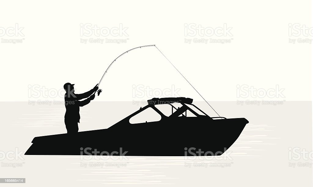 Out Fishing Vector Silhouette royalty-free stock vector art