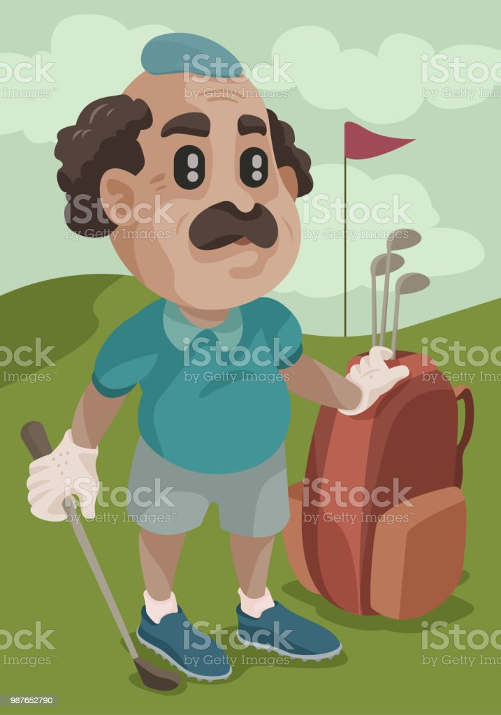 Out for a Golf vector art illustration