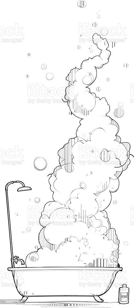 Out of Control Bubble Bath vector art illustration