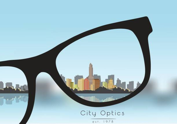 フォーカス ビジネス建物市空と矯正 - ベクトル図メガネから - 検眼医点のイラスト素材/クリップアート素材/マンガ素材/アイコン素材