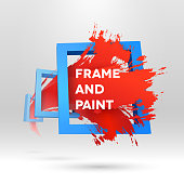3D typographic template with out of frame brush stroke