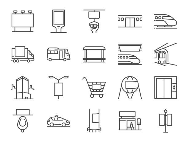ilustrações, clipart, desenhos animados e ícones de fora da mídia doméstica linha conjunto de ícones. incluído ícones como propaganda, publicidade exterior, marketing, outdoor mídia e muito mais. - exterior