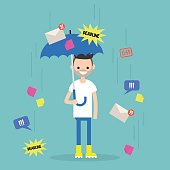 Out of office. Conceptual illustration. Young character protects himself from the information flow with an umbrella. Filtering the incoming information