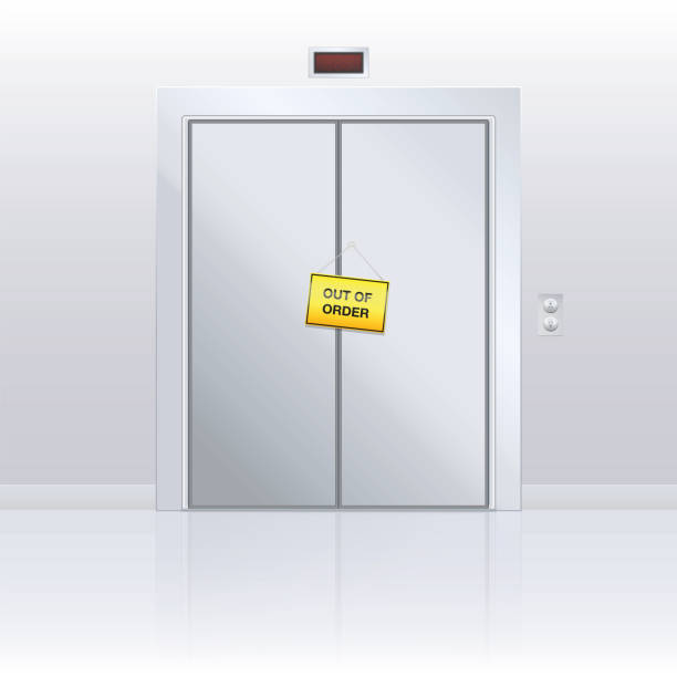 Out of order sign on elevator door. Yellow warning panel hanging on closed passenger lift with malfunction. Vector illustration. vector art illustration