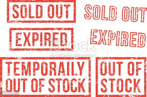 istock Out of stock, sold - rubber stamps 463803615