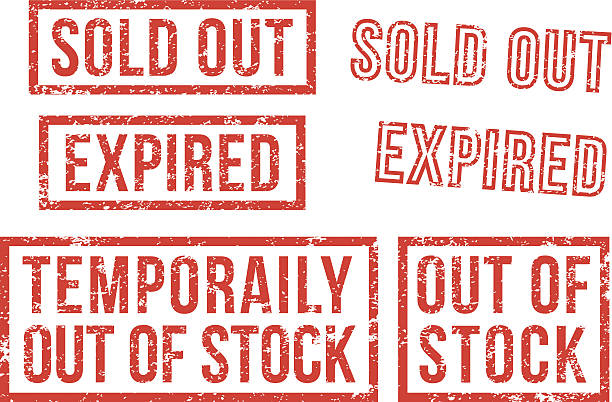 Out of stock, sold - rubber stamps Out of stock, sold out, expired rubber stamps. obsolete stock illustrations
