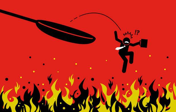 ilustrações de stock, clip art, desenhos animados e ícones de out of the frying pan and into the fire. - fail cooking