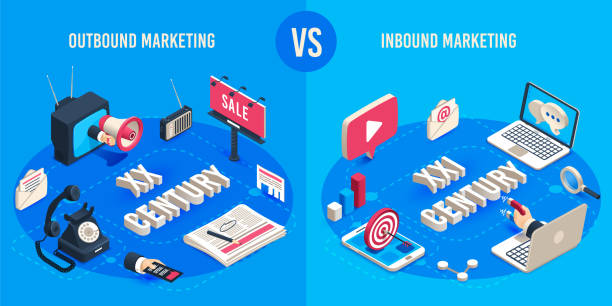 ilustrações de stock, clip art, desenhos animados e ícones de outbound and inbound marketing. isometric market advertising generations, online markets sales magnet and ads megaphone vector concept - inbound marketing