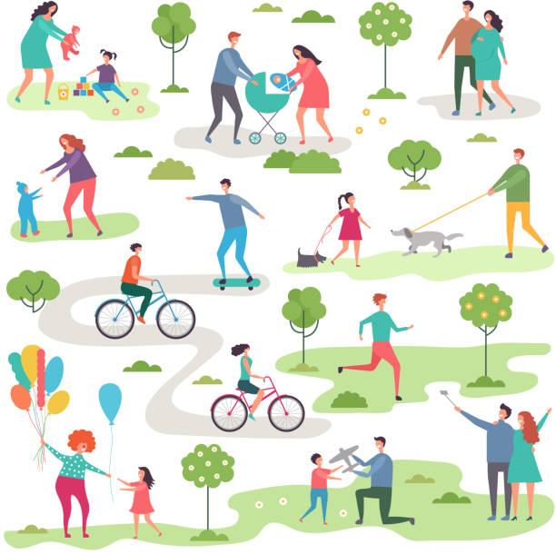 illustrazioni stock, clip art, cartoni animati e icone di tendenza di outdoor activism in urban park. bicycle riders and walking peoples - city walking background
