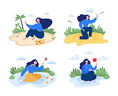 Outdoor activities concept vector illustration SET in modern flat style. Female character sitting on the lawn in the park.