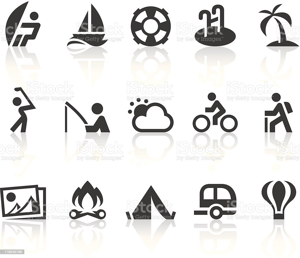 Outdoor Activities Icons   Simple Black Series royalty-free stock vector art