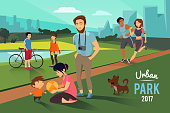 Outdoor activities in urban park. Happy family with kid, runners couple, Vector background
