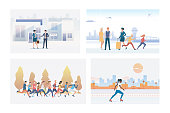Outdoor activities or meeting set. Tourists in airport, athletes running marathon. Flat vector illustrations. Lifestyle, communication, activity concept for banner, website design or landing web page