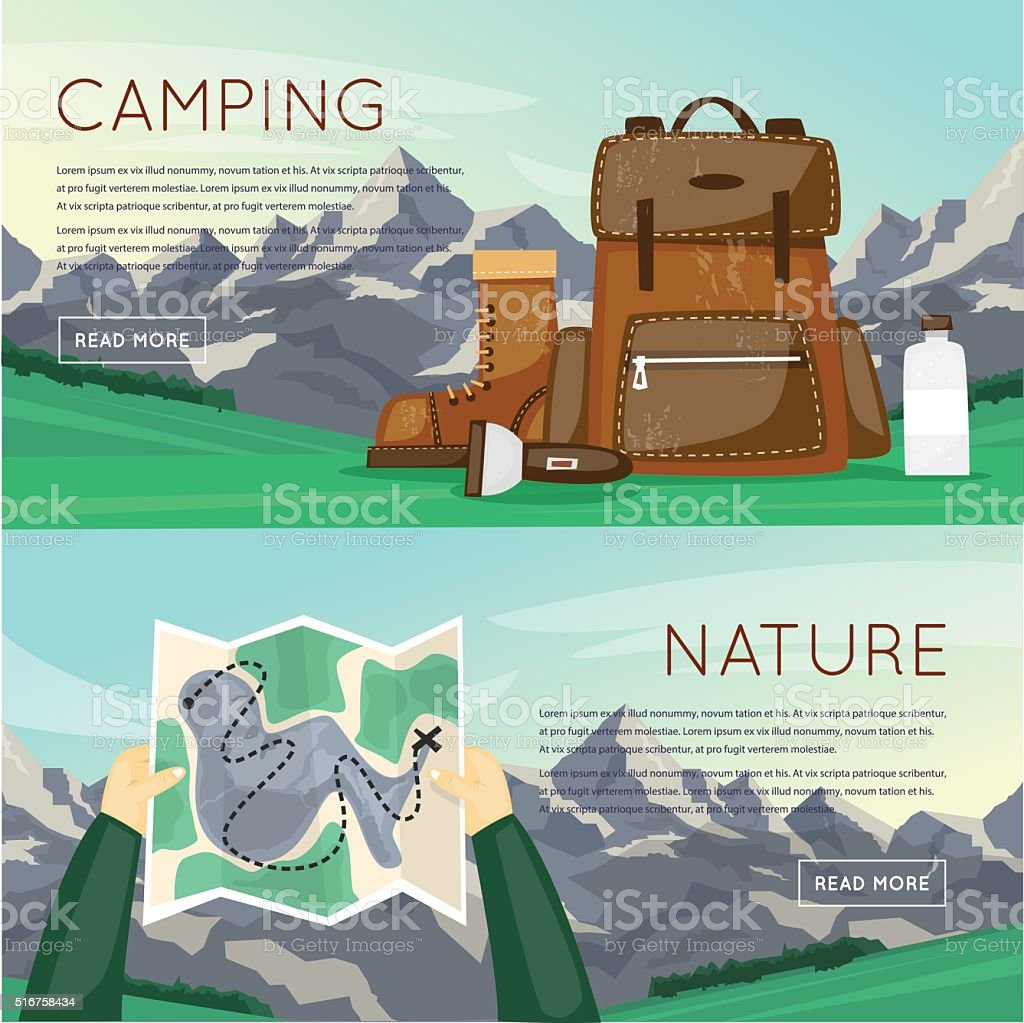 Outdoor activities. Summer adventure. Mountains background, hiking equipment, camping, vector art illustration