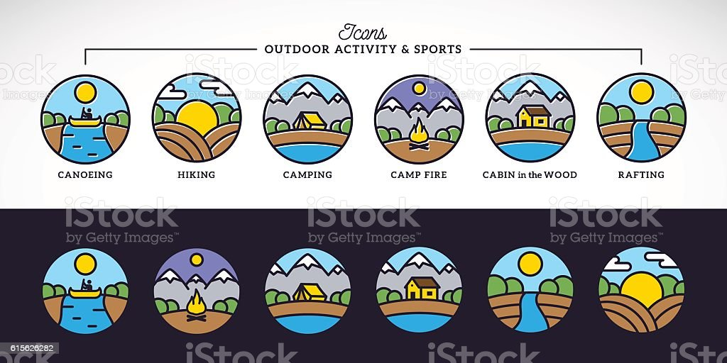 Outdoor Activity and Sports Line Style Vector Icons Set with vector art illustration