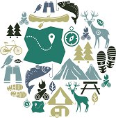 A set of outdoor activity themed icons. See below for a repeat pattern of this file.