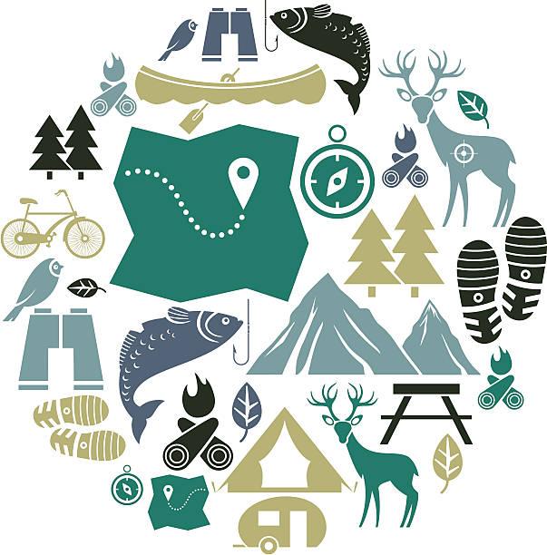 outdoor activity icon set - bird watching stock illustrations, clip art, cartoons, & icons