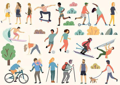 Utomhusaktivitet Illustration Doodle Ritning Vektor-vektorgrafik och fler bilder på Aktivitet