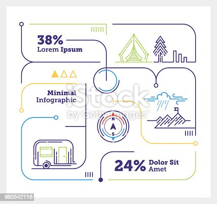 Vector Infographic Line Design Elements for Outdoor Activity