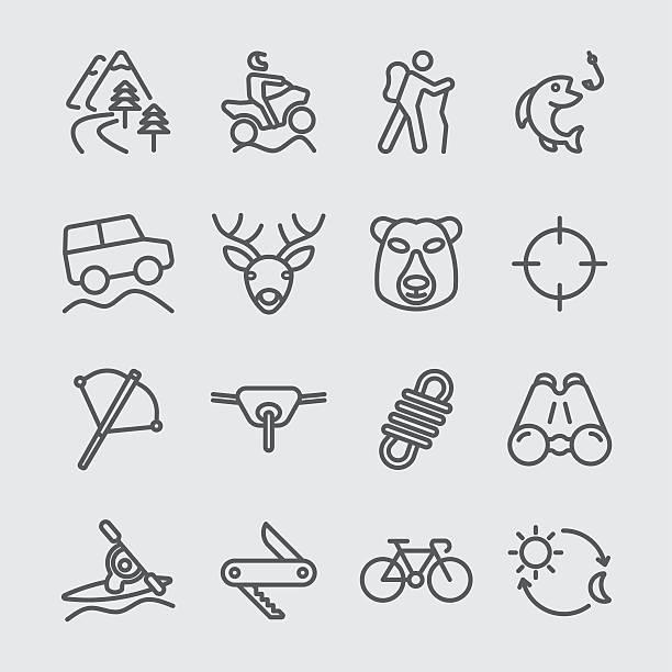 Icône de la ligne d'aventure en plein air - Illustration vectorielle