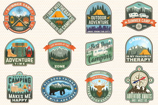 Outdoor adventure patch with quotes. Vector. Concept for shirt, logo, print, stamp or tee. Vintage typography design with hiking boots, elk, bear, tent, forest and mountain landscape silhouette