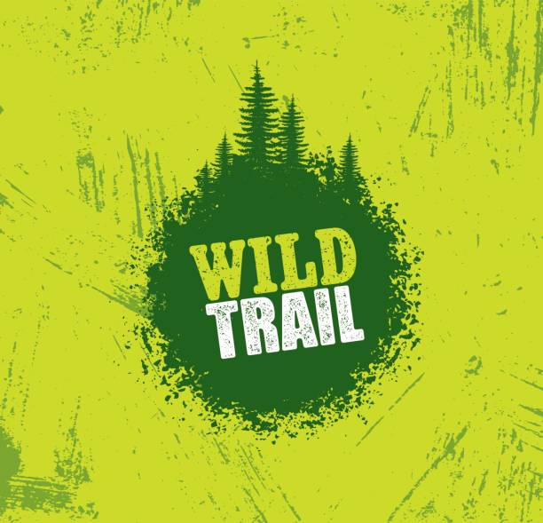 Outdoor Adventure Trail Creative Vector Design Concept. Extreme Activity Event Sign On Grunge Background Outdoor Adventure Trail Creative Vector Design Concept. Extreme Activity Event Sign On Grunge Background. adventure borders stock illustrations