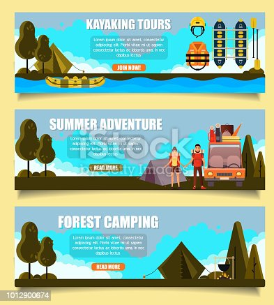 Vector set of outdoor adventure banners. Kayaking tours, Summer adventure and Forest camping web templates. Flat style design.