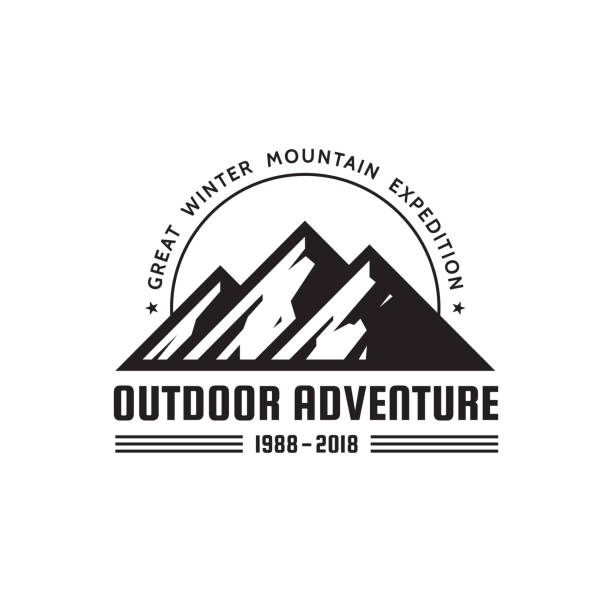 outdoor adventure - vector sign template concept illustration. abstract mountains silhouette creative badge sign. black & white design elements. - black and white mountain stock illustrations, clip art, cartoons, & icons