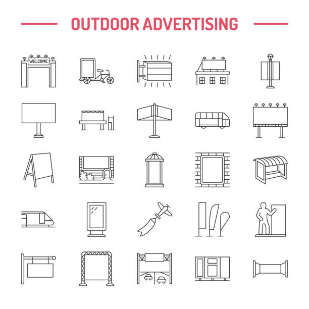 Outdoor advertising, commercial and marketing flat line icons. Billboard, street signboard, transit ads, posters banner and other promotion design element. Grey color. Trade objects thin linear sign vector art illustration