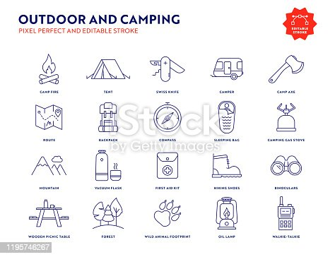 Outdoor and Camping Line Icon Set with Editable Stroke and Pixel Perfect.