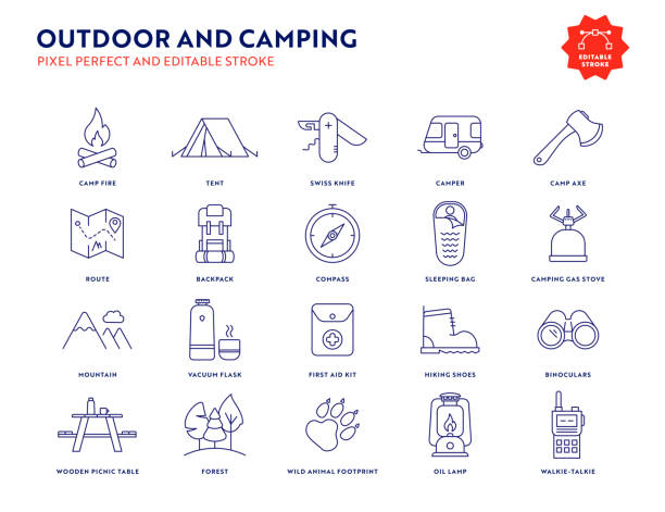 Outdoor and Camping Icon Set with Editable Stroke and Pixel Perfect. Outdoor and Camping Line Icon Set with Editable Stroke and Pixel Perfect. adventure icons stock illustrations