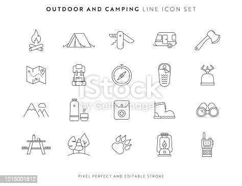 Outdoor and Camping Icon Set with Editable Stroke and Pixel Perfect.