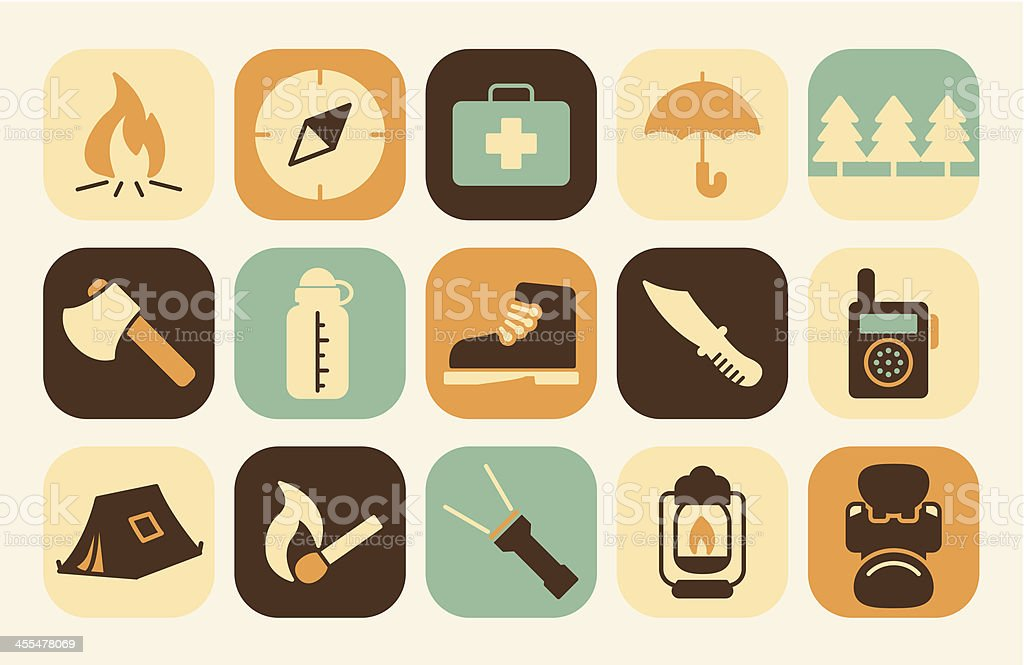 Illustration of outdoor and camping icons on the background.