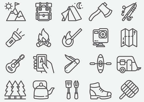Outdoor and Hiking Line Icons