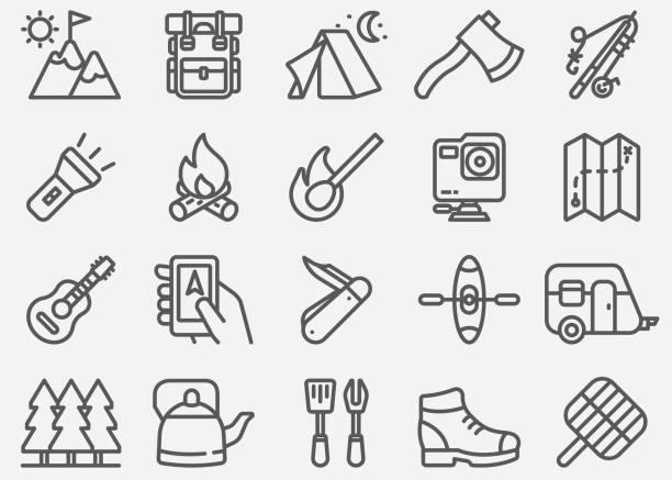 stockillustraties, clipart, cartoons en iconen met outdoor en wandel lijn pictogrammen - gopro