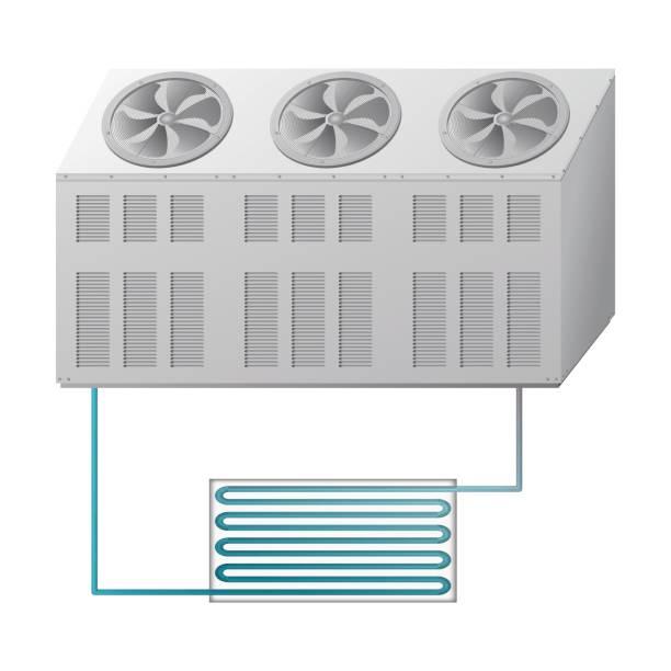 outdoor und indoor-einheit kühler. klimaanlage - kondensation stock-grafiken, -clipart, -cartoons und -symbole
