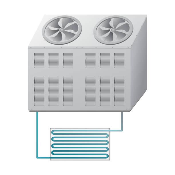 outdoor und indoor-einheit kühler. klimaanlage. - kondensation stock-grafiken, -clipart, -cartoons und -symbole