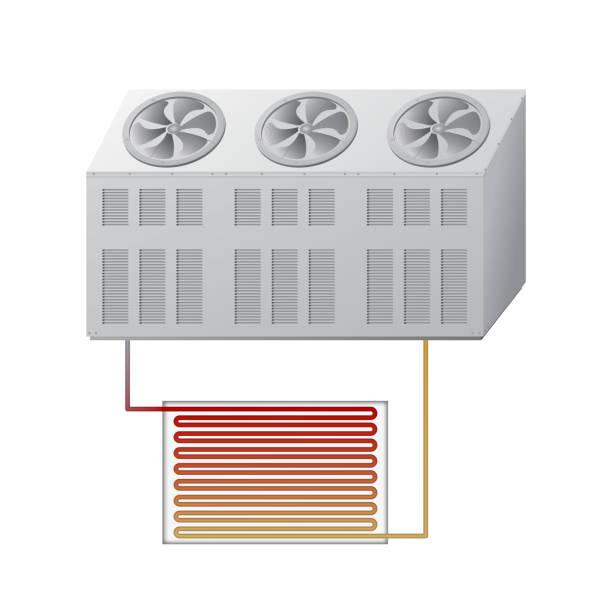 outdoor und indoor-einheit kühler. hlk-vektor-illustration. - kondensation stock-grafiken, -clipart, -cartoons und -symbole