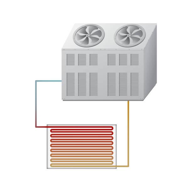 outdoor und indoor-einheit kühler. vektor-illustration. - kondensation stock-grafiken, -clipart, -cartoons und -symbole